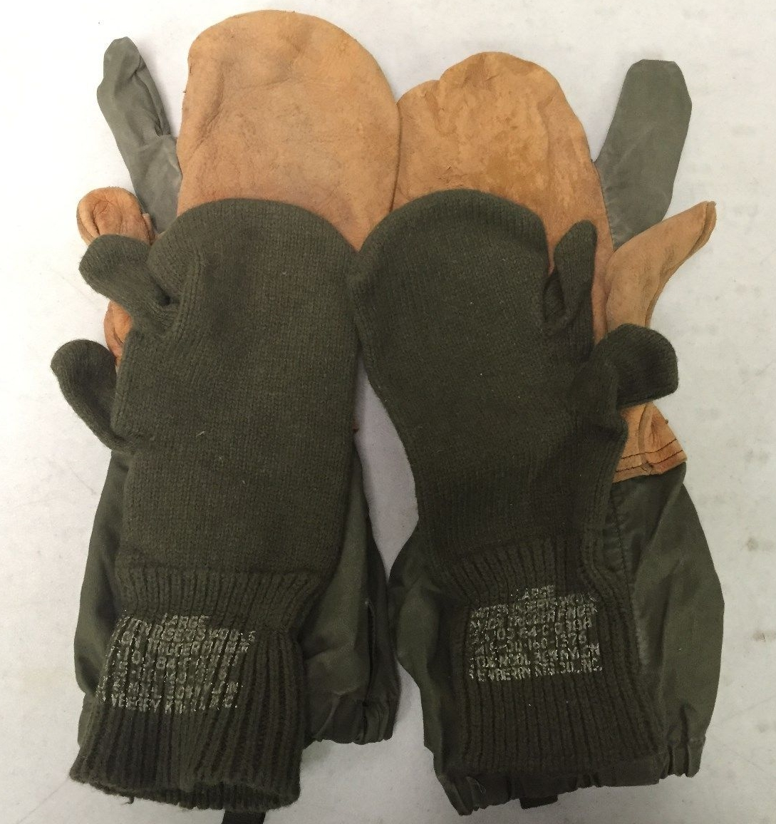 Military Trigger Finger Mittens With Wool Liners