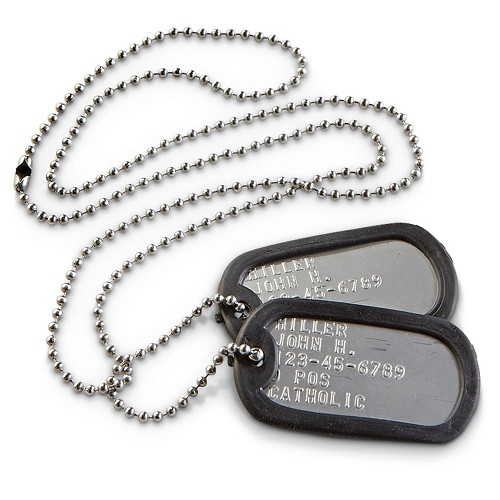 Military Dog Tags, full set with silencers